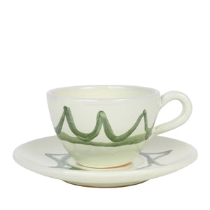 Apulian Tea cup and saucer, green