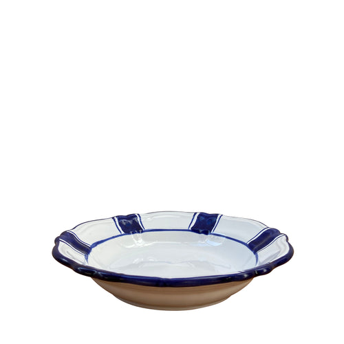 Ceramic pasta bowl - blue stripe, Puglia, Italy