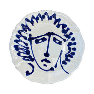 Ceramic scalloped main face plate - blue, Puglia, Italy