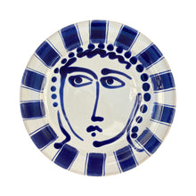 Load image into Gallery viewer, Ceramic dinner plate with face and striped trim - blue, Puglia, Italy