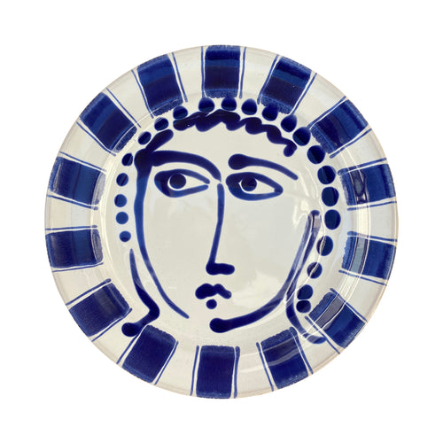Ceramic dinner plate with face and striped trim - blue, Puglia, Italy
