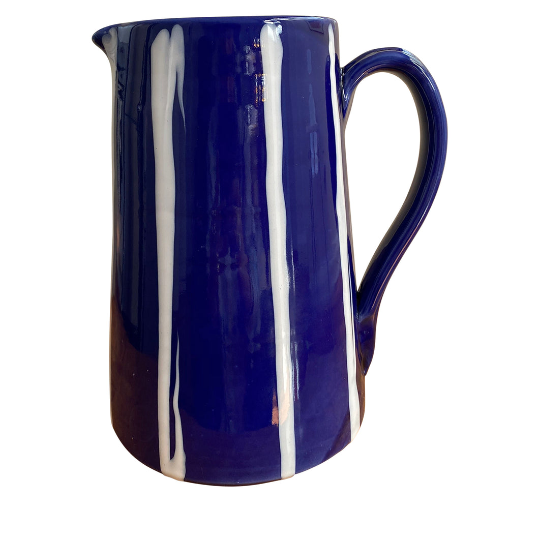 2LT ceramic water jug - blue with white stripe, Puglia, Italy
