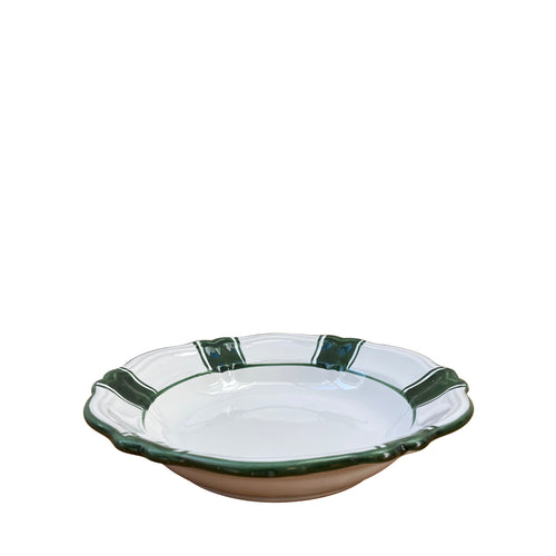 Ceramic pasta bowl - green stripe, Puglia, Italy