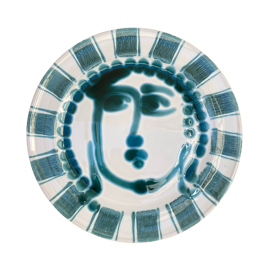 Ceramic dinner plate with face and striped trim, green - Puglia, Italy