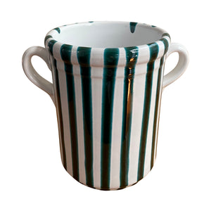 Ceramic striped wine cooler, green - Puglia, Italy