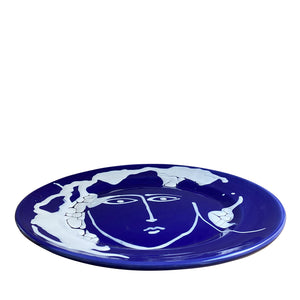 Ceramic large serving face plate - blue, Puglia, Italy