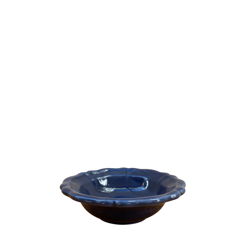Small ceramic scalloped bowl - navy blue, Puglia, Italy