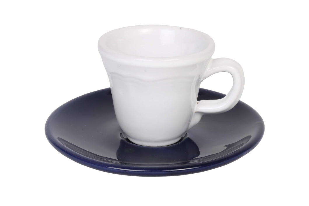Apulian white espresso cup and navy saucer
