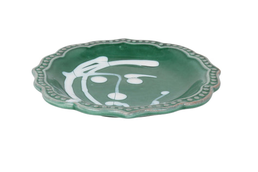 Apulian Face Plate, green and white 14.5cm