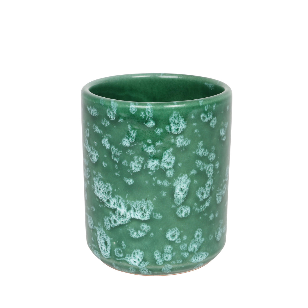 Ceramic cup, green and white