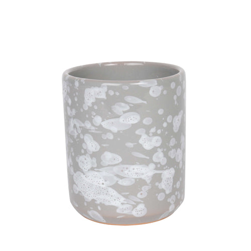 Ceramic cup, grey and white