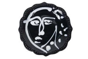 Apulian Face Plate, dark navy and white 14.5cm