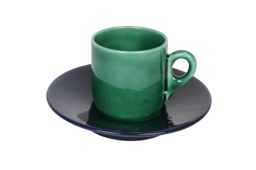 Classic Apulian green espresso cup and navy saucer