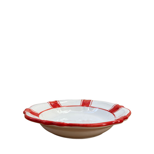 Ceramic pasta bowl - red stripe, Puglia, Italy