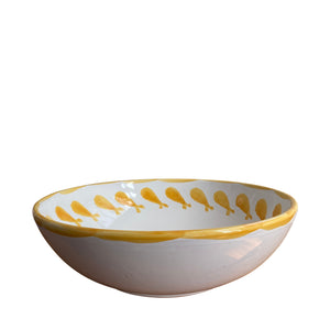 Large ceramic serving bowl - yellow fish, Puglia, Italy: BACK IN STOCK LATE APRIL