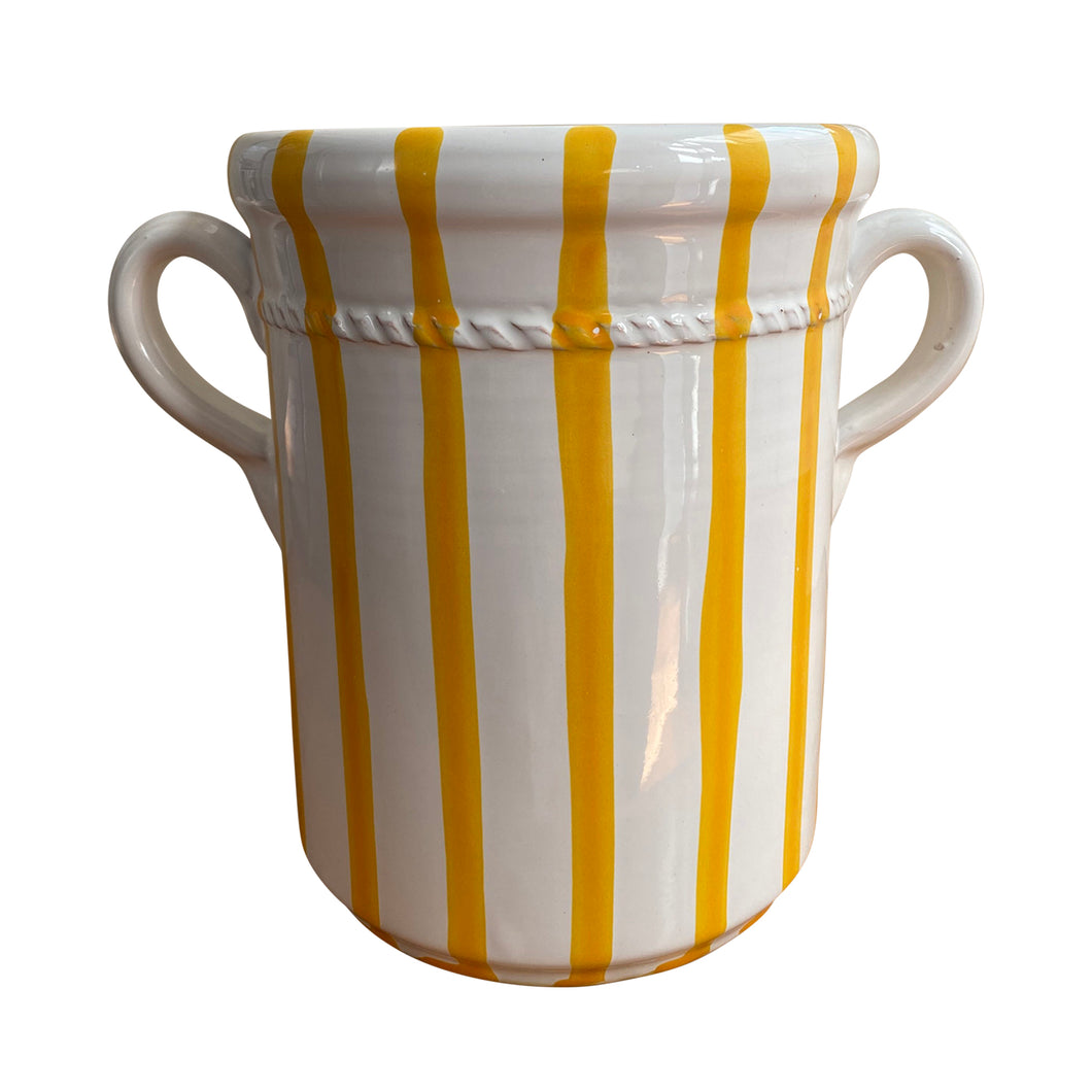 Ceramic wine cooler - yellow stripe, Puglia, Italy