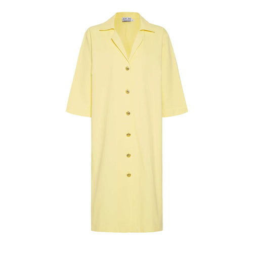 Ischia shirt dress with gold shell buttons, limone