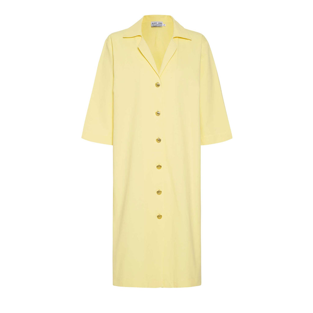 Ischia shirt dress with gold anchor buttons, limone