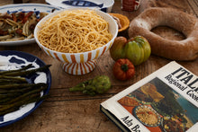 Load image into Gallery viewer, Large ceramic fruit bowl stand - yellow and orange stripe, Puglia, Italy