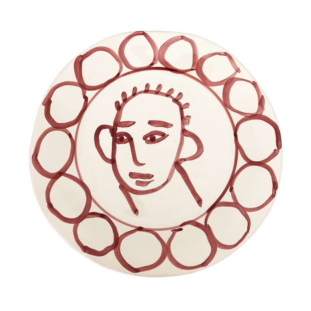 Apulian Face Dinner Plate 29cm, Red
