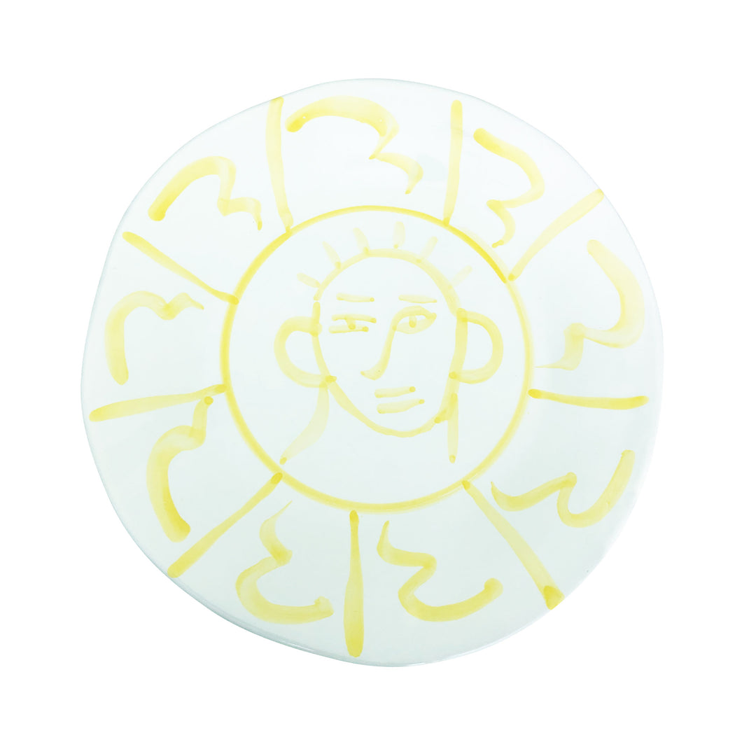 Apulian Face Dinner Plate 29cm, Yellow
