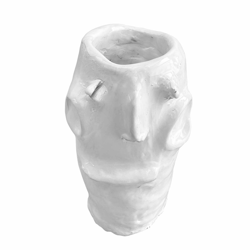 Apulian Ceramic Head Vase, White - Giulia