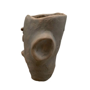 Apulian Ceramic Medium Head Vase, Terracotta with olive wash - Gina