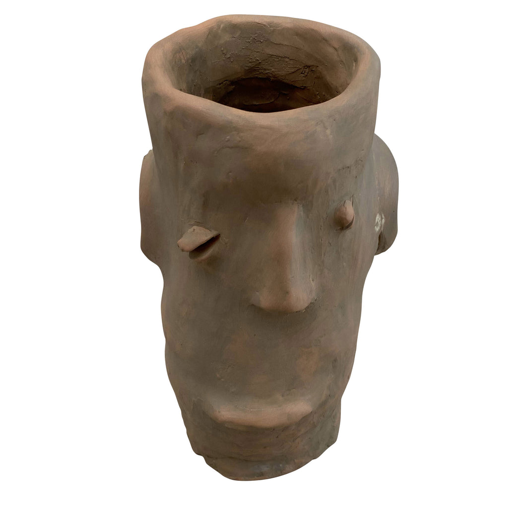 Apulian Ceramic Medium Head Vase, Terracotta with olive wash - Stefano