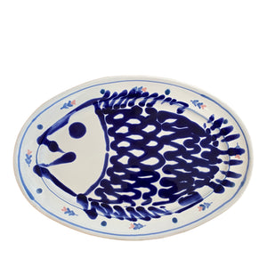 Ceramic large oval fish serving platter - blue, Puglia, Italy