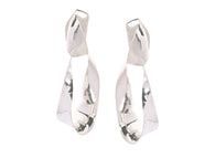 LOUISE OLSEN X ALEX AND TRAHANAS Silver, Large Olive Leaf Earrings Clip-on