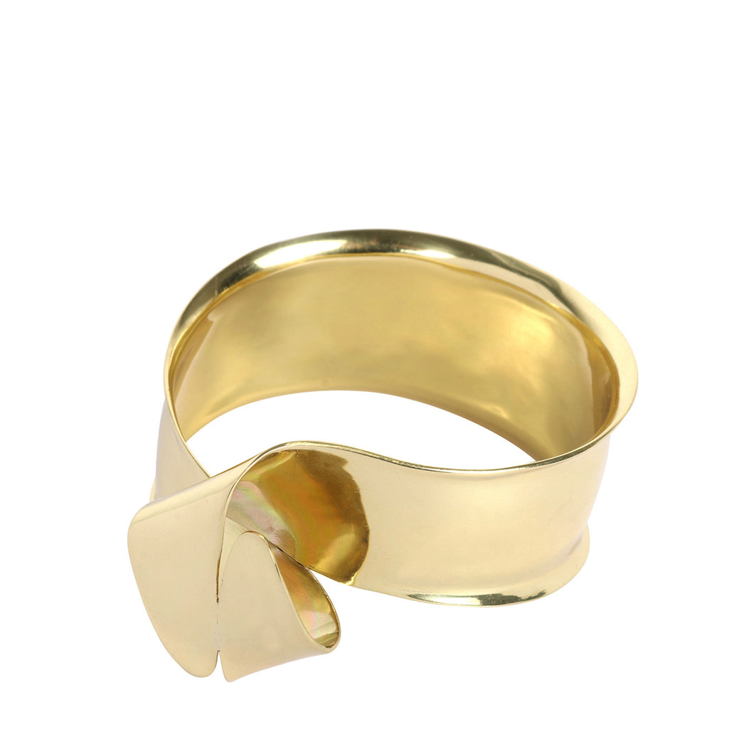 LOUISE OLSEN X ALEX AND TRAHANAS Gold-tone Olive Leaf Bangle - small fit