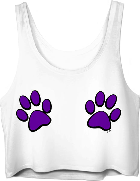 Double Purple Paw Prints Crop Top