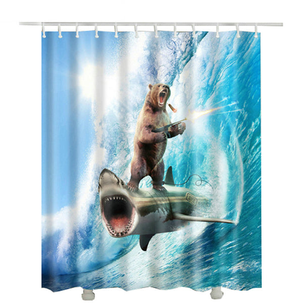 Bear Surfing on a Shark Shower Curtain