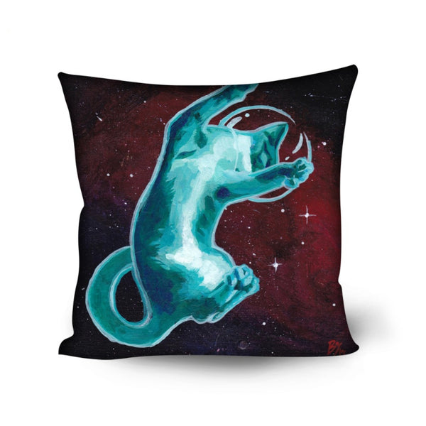 Blue Space Kitty Pillow