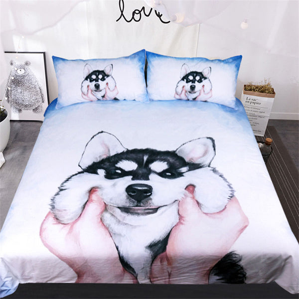 Squishy Face Husky Bedding Set