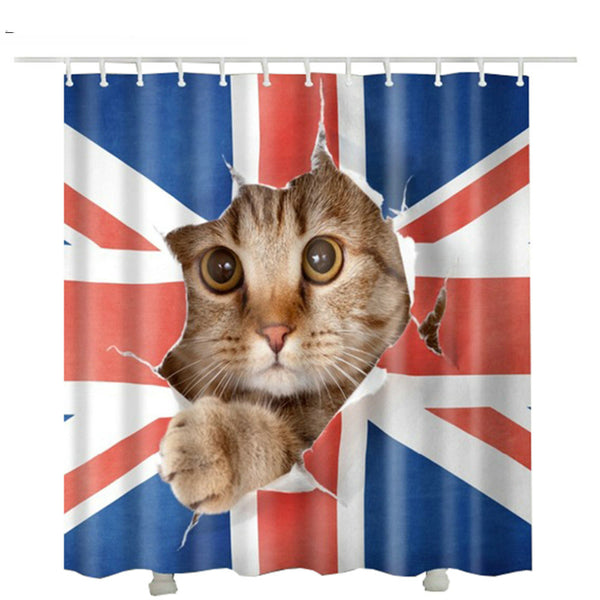 Break Through UK Flag Kitty Shower Curtain