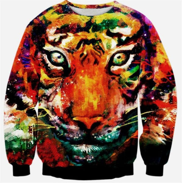 Colorful Tiger Face Sweatshirt