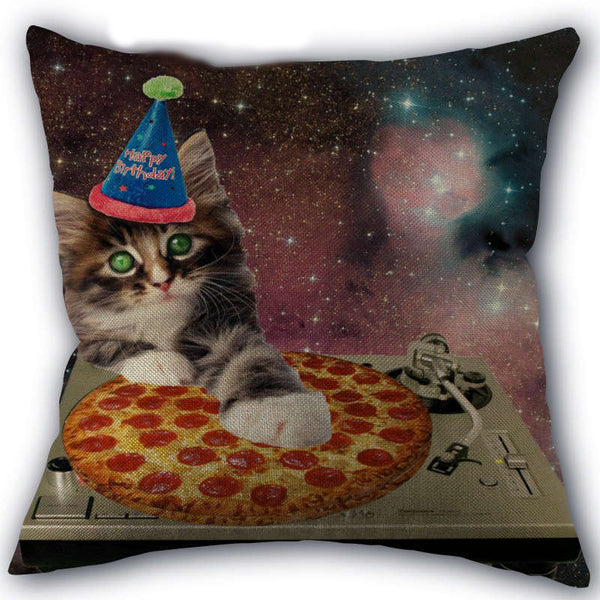 Space Pizza DJ Cat Pillow