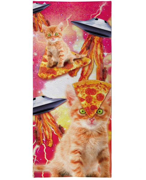 Bacon Pizza Space Cat Beach Towel