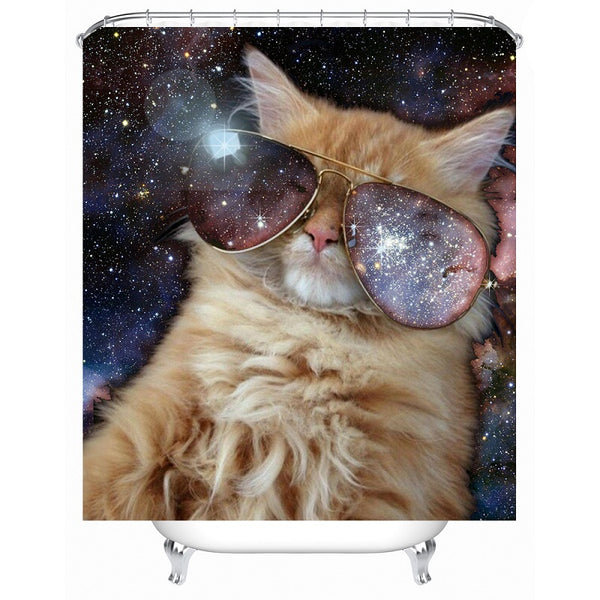 Space Aviator Kitty Shower Curtain