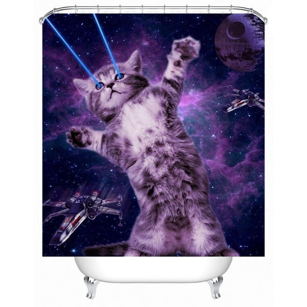 Rebel Space Kitty Shower Curtain