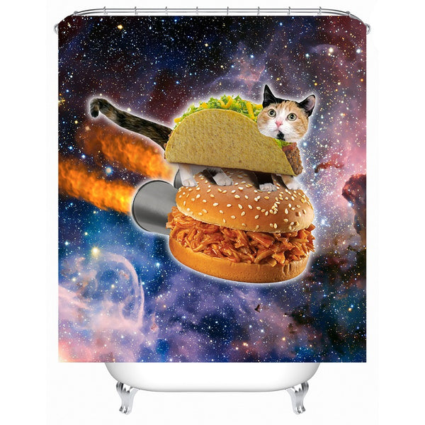 Taco Cat on BBQ Space Ship Shower Curtain