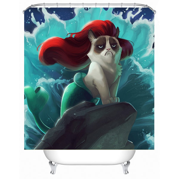 Grumpy Mercat Shower Curtain