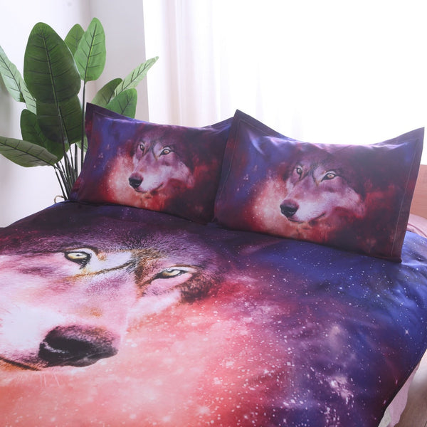 Cosmic  Wolf Printed Duvet and Pillow Case Set
