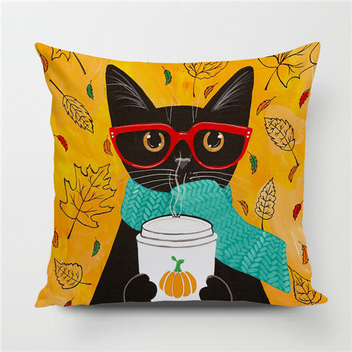 Cat in Glasses Throw Pillow