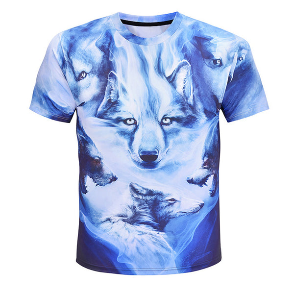 Abstract Snow Wolf Collage T-Shirt