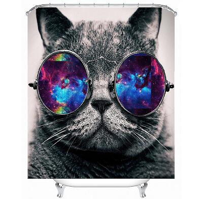 Galactic Shades Kitty Shower Curtain