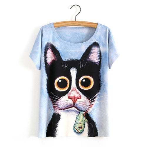 Kitty with Fishy Ladies T-Shirt