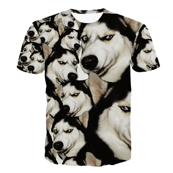 Funny Husky Collage T-Shirt