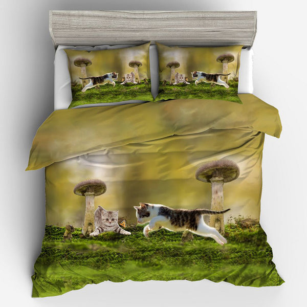 Kitties in Mushroom World Bedding Set